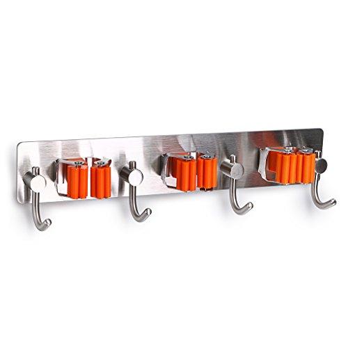Garten Tool Rack (sumnacon Mop Besen Halter Organizer, 2PCS 3m selbstklebend Wand montiert Mop Haken Besen Aufhänger Halter mit Spring Clip Design Bad montiert Home Tools/Küche Organizer Rack)