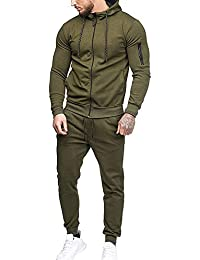 Survetement Homme Ensemble Football Tenue de Sport 2 Pièces Pantalon de  Sport Sweatshirt à Capuche Uni 9a3a9e8f1c8e