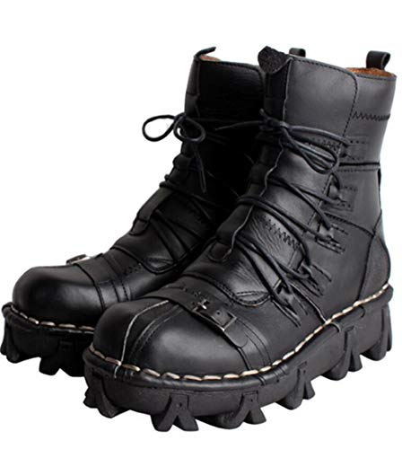 JIANGJIE Ejército Militar De Cuero Genuino para Hombre Botas Impermeables Y Transpirables Motocicleta Punk Gótica Martin Boots Mid Heel,Black,38