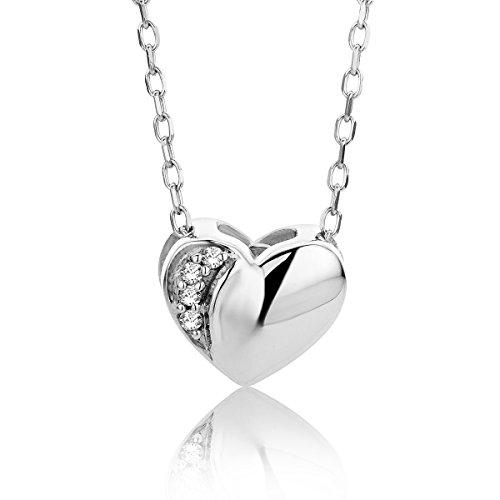 Orovi Kette für Damen Schmuck Weißgold 9 Karat/ 375 Gold Halskette Herz Anhänger mit Diamant Brillanten