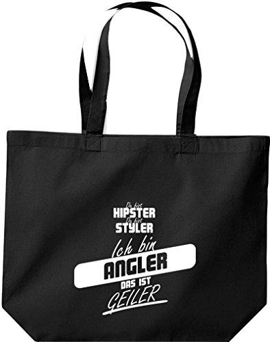 Shirtstown große Einkaufstasche, Shopper du bist hipster du bist styler ich bin Angler das ist geiler schwarz