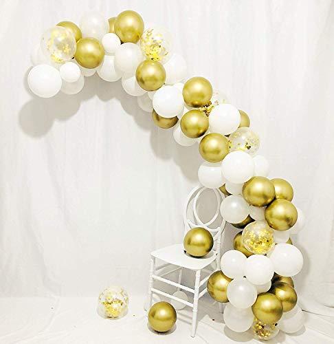 Balloon Arch & Garland Kit | 80 Pearl White, Chrome Gold Confetti & Klebepunkte | Dekorationsstreifen | Urlaub, Hochzeit, Baby Shower, Abschlussfeier, Jubiläum Organische DIY Partydekorationen