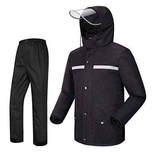 Regenbekleidung für wasserdichte Sportbekleidung Regenanzug für Männer Regenkleidung (Regenjacke und Regenhosen Set) Erwachsene mit Kapuze Outdoor Arbeit Motorrad Golf Angeln schwarz für Outdoor Campi
