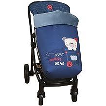 Babyline  - Saco universal de invierno  teddy bear para silla de paseo azul marino