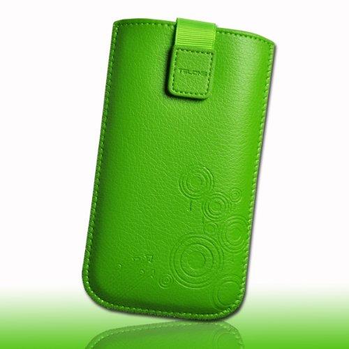 Handy Tasche Etui Hülle Case Einschubtasche Kunstleder grün DK13 Gr.3 für Samsung Galaxy Trend Lite S7390 / Galaxy S Duos 2 S7582 / Galaxy Trend Plus S7580 / Alcatel One Touch Pop C3 / Alcatel One Touch Pop S3 / Nokia Lumia 525