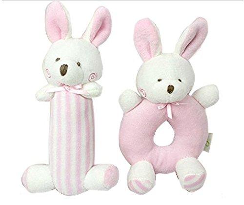 Liketo 2pcs Bunny Rabbit Girl Baby Stuffed Plush Dolls Toys, Weiche Plüsch - Spielzeug Rattle Ausgestopfte Tiere, Neugeborene Baby - Spielzeug - Geschenke