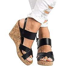 Sandalias Mujer CuñA Piel, Beladla Zapatos De CuñA De Mujer Bohemias Romanas Mares Playa Gladiador