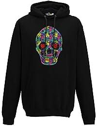 KiarenzaFD Sudadera Capucha Hombre Calavera Creación Fashion Cool Mexicano Corazones Ojos Streetwear, Jet Black,