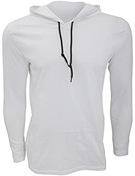 Anvil - Camiseta básica de manga larga con capucha Fashion