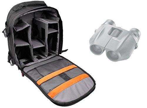 Sac à dos noir de transport et rangement pour BUSHNELL Powerview 7-15x25, H2O 10x25mm, H20 8x42 jumelles Waterproof - résistant à l'eau, par DURAGADGET