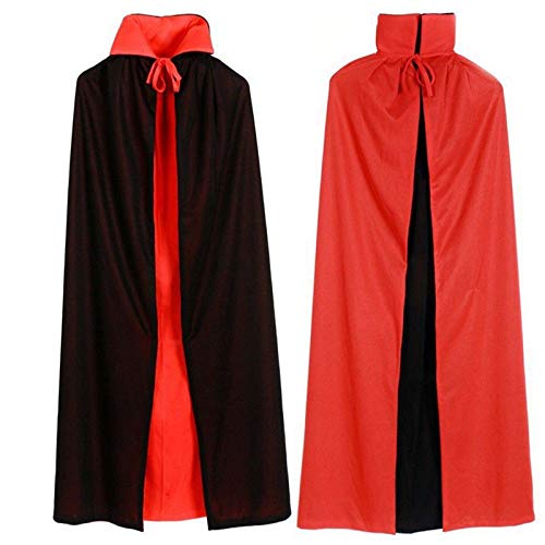 125cm Halloween Black Red Reversible Vampire Cape Dracula Devil Cloak Fancy Dress Costume Teenager Kids Adults Mens Womens (Dracula Lady Adult Kostüm)