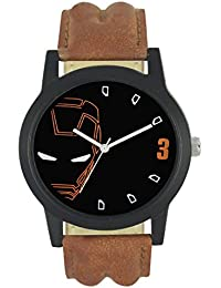 Harikrushna Creation Analogue Black Dial Brown Leather Strap Casual & Fashion Wrist Watch For Men & Boys