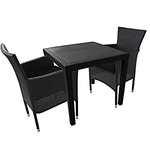 3tlg balkonm bel set gartentisch vollkunststoff rattan optik 79x79cm poly rattan. Black Bedroom Furniture Sets. Home Design Ideas