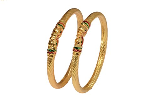 Mansiyaorange Traditional Fancy Designer Casual Party Wedding Wear Original Hand Work Meena One Gram Gold Elephant Style Two Golden Bangles For Women  available at amazon for Rs.290