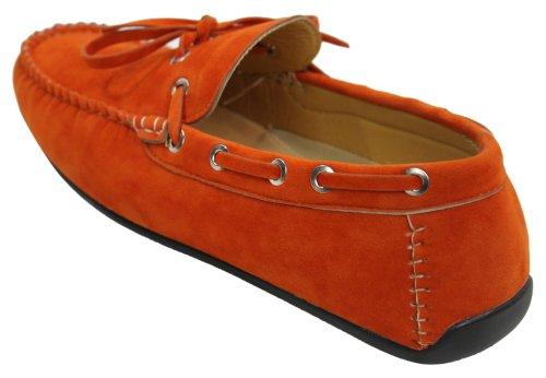 Herren Boot Mokassins Wildleder Leder Geschnürt Italienisch Orange Grün Braun Creme Orange