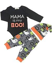 Bebé recién nacido conjunto de ropa de Halloween de manga larga Body y pantalón y sombrero de 3 piezas traje