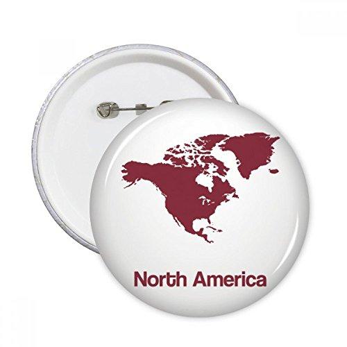 Norteamérica Continente Silueta Mapa Redondo Pin