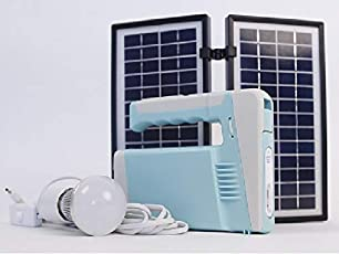 Qianhe - 45W Li-ion Emergency Solar Lighting System with Torch, Flood Light, 2 Bulbs and Mobile Charger/DC Fan Connection Port