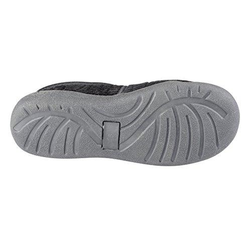 Ego Chaussons confortables pour homme en velours côtelé 100% coton Doublure tartan Semelle antidérapante Noir