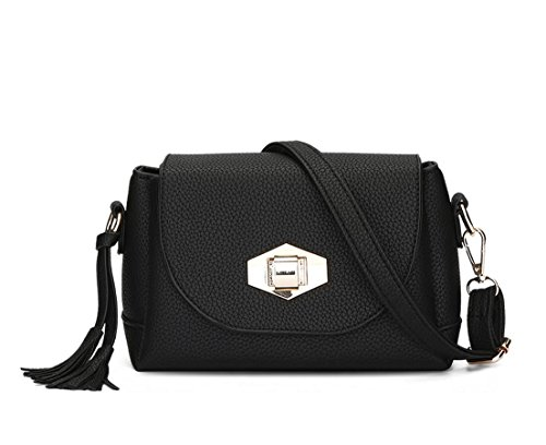 Hqyss Borse Da Donna Donna Pu Leather Simple Simple Shoulder Messenger Borsa A Tracolla Leggera Colore Solido Con Fibbia Nappa Borsa Nera (l)