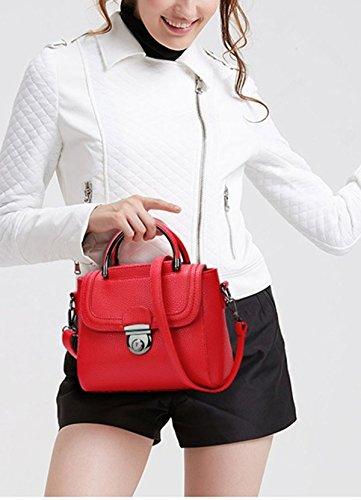 QPALZM Ms Impermeabile Fashion Litchi Semplice Mini Spalla Portatile Borsa Messenger Bag 28.21 Once (oz) Pink