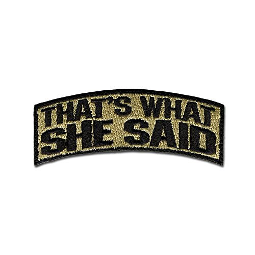 Bastion Tactical Combat Badge Military Haken und Loop Badge bestickt Klettverschluss Moral Patch-That 's What She Said ACU -