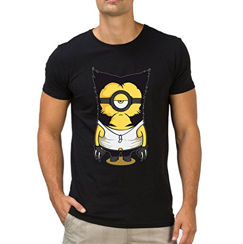 Fanideaz Branded Round Neck Cotton Wolverine Minion T Shirt for Men_Black_L  available at amazon for Rs.699