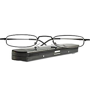 Leichte Metall Mini Lesebrille | Edelstahl Rahmen | mit GRATIS Slim-Fit Alu Etui | Lesehilfe für Damen und Herren von Mini Brille