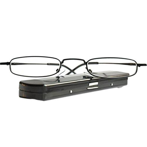 Leichte Metall Mini Lesebrille | Edelstahl Rahmen (Schwarz) | GRATIS Slim-Fit Alu Etui | Lesehilfe für Damen und Herren von Mini Brille | +1.5 Dioptrien