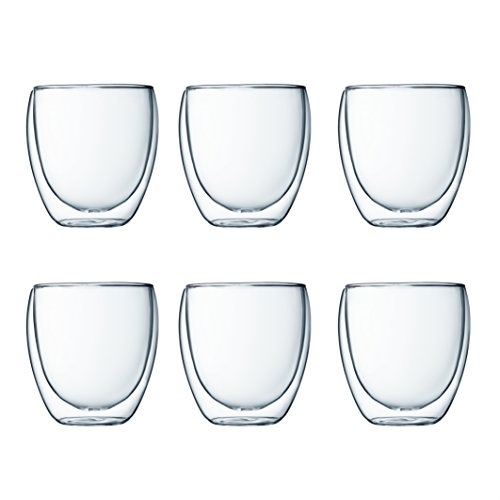Bodum 4558-10-12 pavina 6-teiliges Gläser-Set (Doppelwandig, isoliert, 0,25 liters) transparent