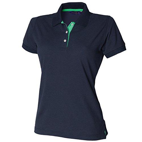 Damen Kontrast 65/35Polo - Navy / Bright Green