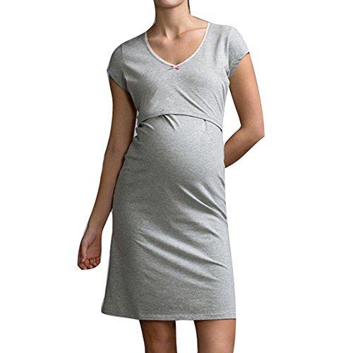Pijama de lactancia Amamantamiento Ropa de dormir Juleya Pijamas de enfermería de maternidad Embarazo de maternidad Embarazo Pijamas gris M