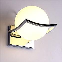 Geoco Esférico LED Wandlamp lámpara de pared, soporte de metal de acero inoxidable, luz de pared LED, blanco cálido
