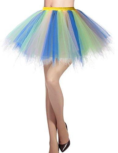 Dresstells Damen Tüllrock 50er Rockabilly Petticoat Tutu Unterrock Kurz Ballett Tanzkleid Ballkleid Abendkleid Gelegenheit Zubehör Blue-Champagne ()
