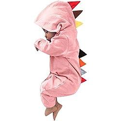 ❤️ Modaworld Monos para Unisex bebé Niñas Niños Recién Nacido bebé niño niña Dinosaurio con Capucha Mameluco Mono Trajes Ropa Conjuntos (Rosado1, 0-3 Mes)