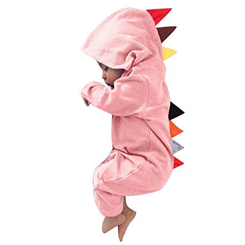 Chewbacca Mädchen Kostüm - MRULIC Neugeborenes Baby Jumpsuit Outfit Dinosaurier Reißverschluss mit Kapuze Spielanzug Overall Outfit Kleidung Niedlicher Babyschlafsack Onesies Herbst und Wintermodelle(Rosa,75-80CM)