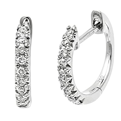 Naava Women's 0.18 ct Diamond Filled 18 ct White Gold Hoop Earrings