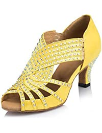 shangyi Zapatos de baile No personalizable–Bajo tacón–Flocado–Latin–Mujer, amarillo, us8 / eu39 / uk6 / cn39
