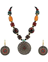 Multi Color Non-Precious Metal Tibetan Pendant Necklace with Earrings for Women & Girls (Gift) Tribal Necklace Jewellery Beads Necklace