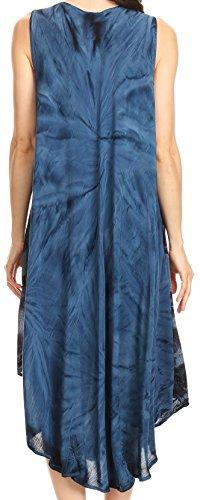 Sakkas Mariana Tie Dye Vine Print Kleid / Cover mit Sequins und Stickerei Marine