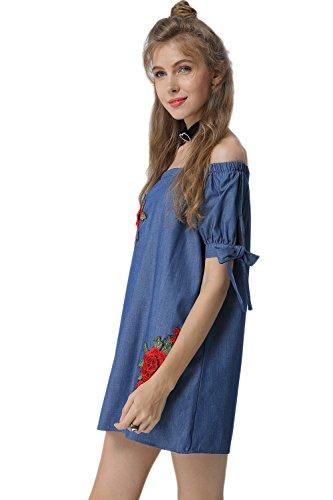 Damen Ist Sommer Bestickt Schulter Ab Bogen Mini - Stift Kleid Blue