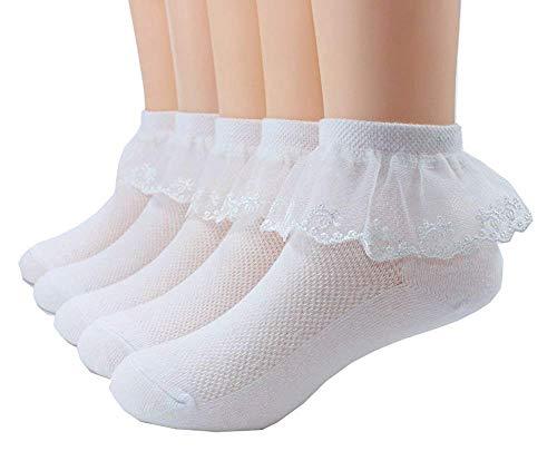 Zeagro 5 Pairs Kleinkind Baby & Kind Mädchen Spitze Prinzessin Socken Mädchen Knöchel Baumwollsocken Größe S -
