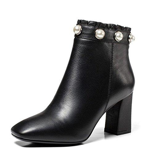 High heels Martin stiefel Low tube Quadratischen kopf [rau mit] Reißverschluss in der seite-schwarz Fußlänge=23.3CM(9.2Inch) (Stiefel Herren Kleiden Zip)