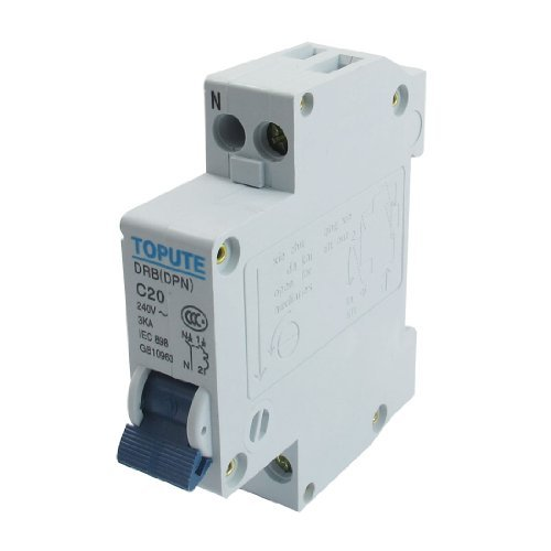 DealMux DIN Rail Mount 1P and N Overload Protection Circuit Breaker, AC, 240V, 20 Amp (20 Amp Circuit Breaker)
