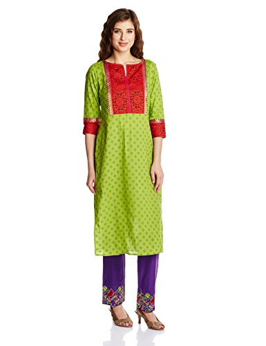 Folklore Women's Anarkali Kurta (FOKU001395_Multi-Color_Small)  available at amazon for Rs.899
