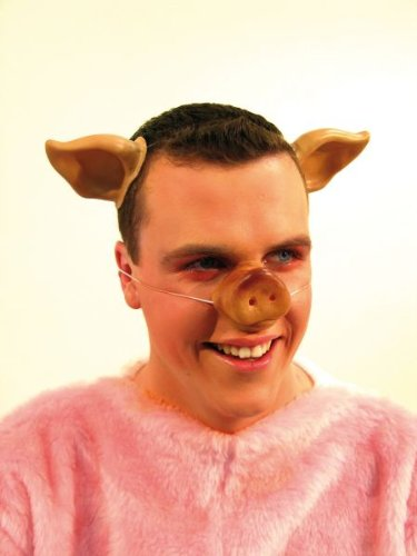 Kostüm Zubehör Set Schwein Ohren und Nase Karneval (Schwein Ohren Set Und Schwanz Nase)