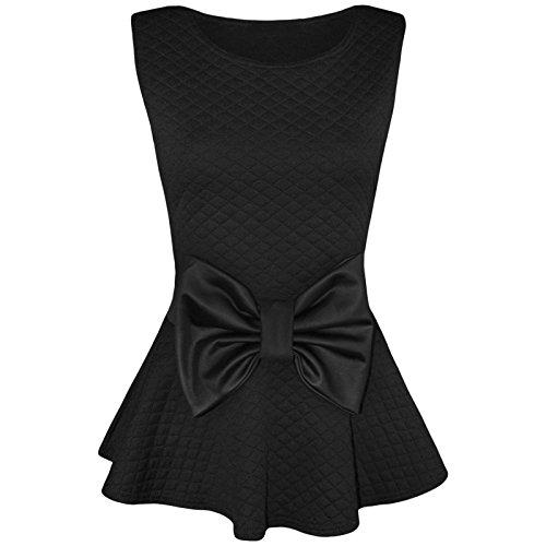 Outofgas Clothing matelassé gros noeud Boutique Haut péplum Noir - Noir