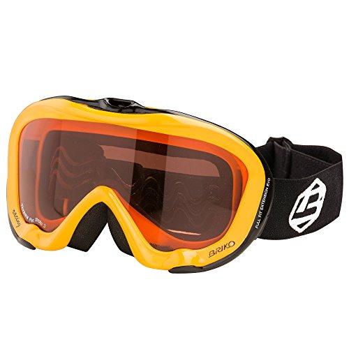 Original Briko Damen & Herren Skibrille Snowboardbrille Ski Goggles Antibeschlag - Gelb / Schwarz