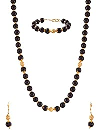 Ganapathy Gems Designer Stone Look Black Pearl Necklace Sets Necklace Set For Women & Girls (11707_GPJ)
