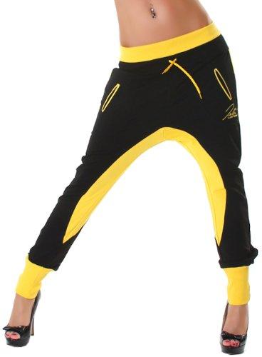 Jela London Damen Jogginghose zweifarbig mit Gummizug Schwarz Gelb
